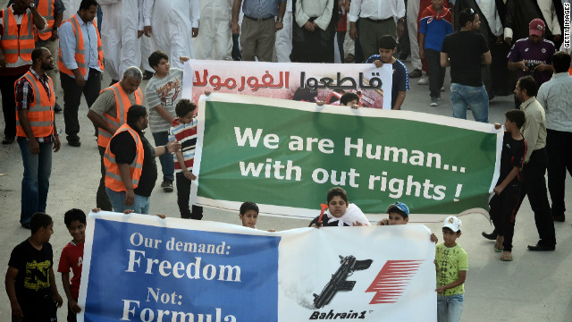 Protestors in the northern town of Al Dair show their opposition to the upcoming Formula One Bahrain Grand Prix
