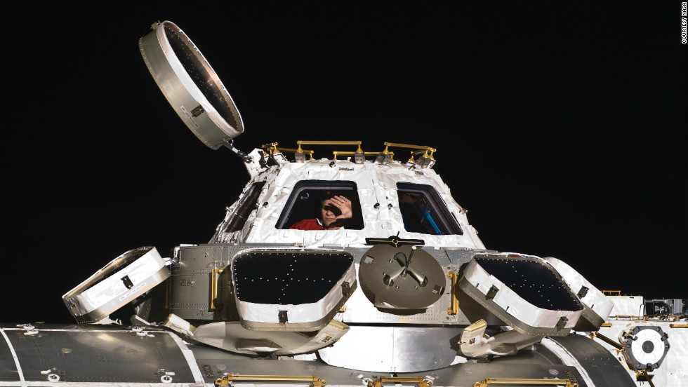Paolo Nespoli in the Cupola of the International Space Station. It has seven windows and provides a pressurized observation and work area for astronauts, according to the European Space Agency.