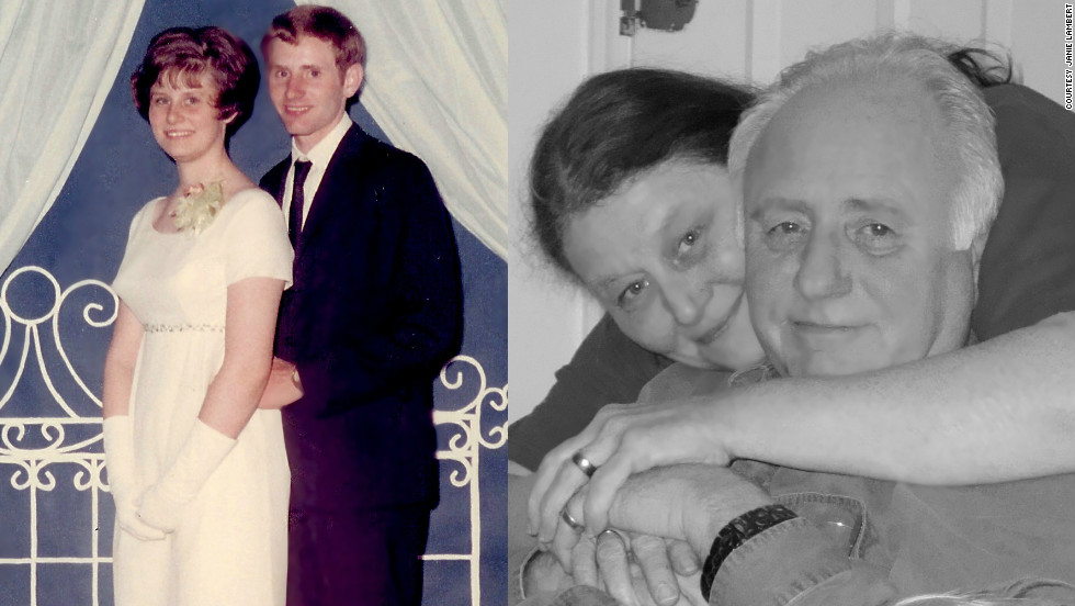 "Janie Lambert met her husband-to-be in 1966. They went to his senior prom together, left, in 1968 and married in 1970. ""Here is to 40 more years!"" she said. ""Sometimes puppy love is the real thing."""