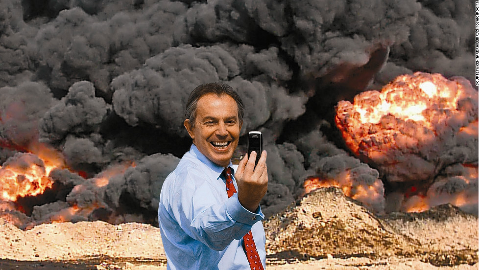 "British duo kennardphillipps created the photomontage ""Photo Op"" in 2005 by digitally altering a photograph of then British Prime Minister Tony Blair."