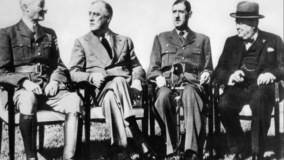 U.S. President Franklin D. Roosevelt, second left, had a difficult relationship with French General Charles de Gaulle, pictured on his left in January 1943 during the Casablanca conference.