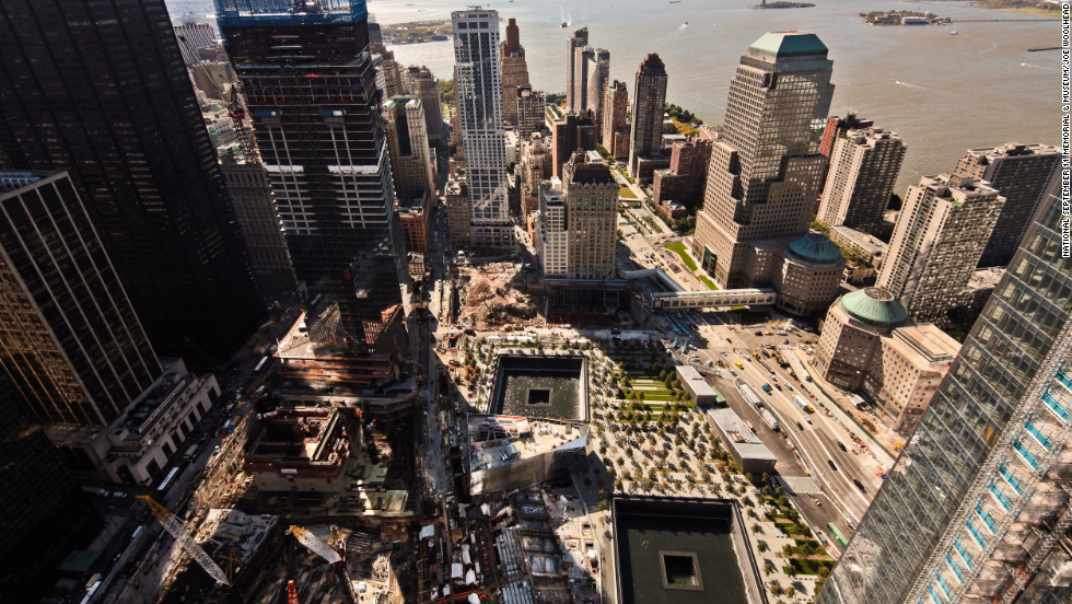 An aerial view of the World Trade Center site and National 9/11 Memorial in New York. More than 2 million people have visited the memorial since it opened last year.