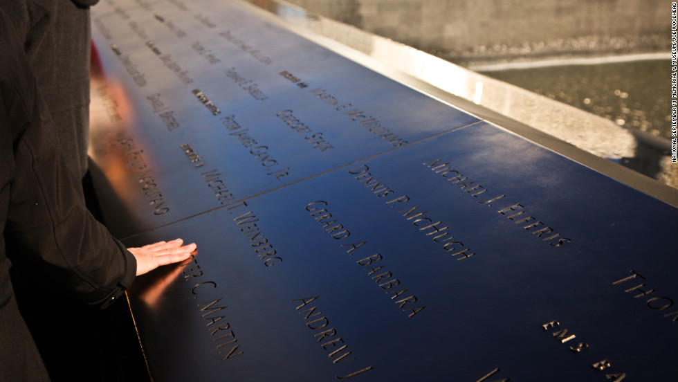 The names of the nearly 3,000 victims killed in the World Trade Center attacks of September 11, 2001, and February 26, 1993, are inscribed on bronze parapets surrounding the two memorial pools.