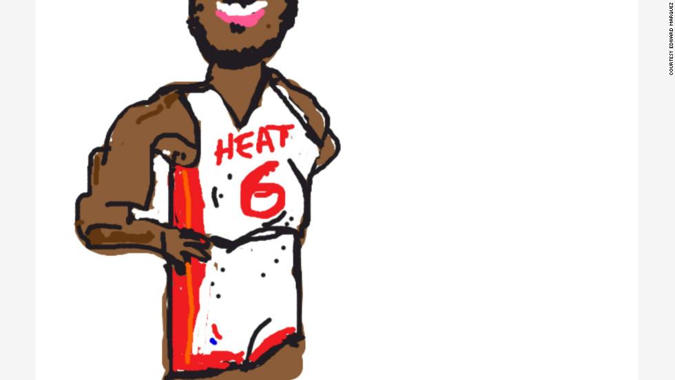 Edward Marquez drew this basketball player for the Miami Heat.