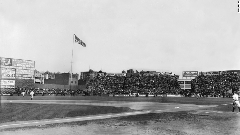 General view of Boston's Fenway Park in 1912 shows stands full of fans.
