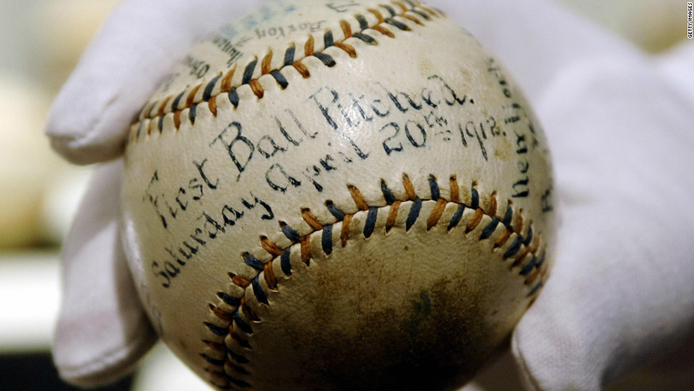 The first baseball pitched at the  April 20, 1912, grand opening of Fenway Park.