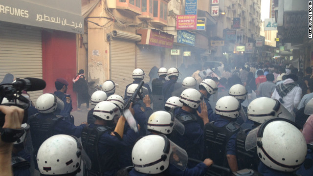 Police used stun grenades in an attempt to clear a crowd protesting in Manama, Bahrain, on Wednesday, April 18.