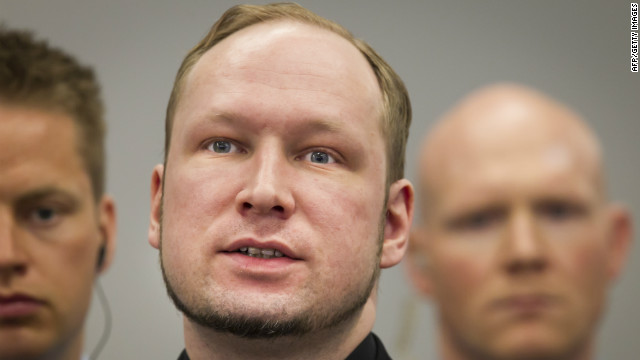 Anders Behring Breivik speaks during his trial Friday at the central court in Oslo, Norway.