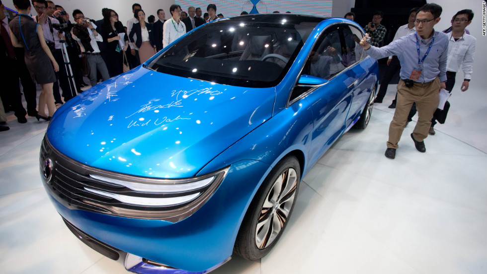 The Denza electric car -- a joint creation by Daimler and Chinese manufacturer BYD -- is unveiled at Auto China 2012 car show in Beijing.