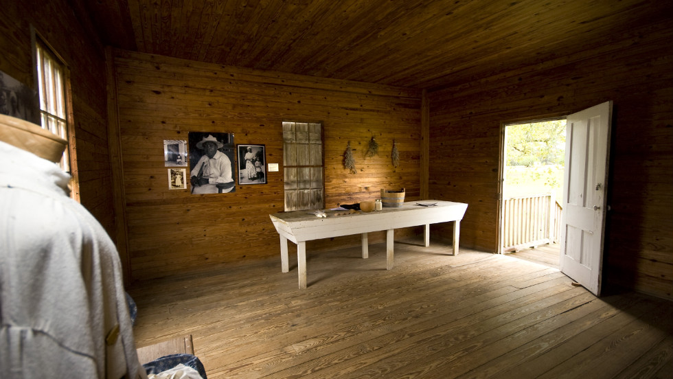 An interior look at the slave quarters at Redcliffe Plantation.