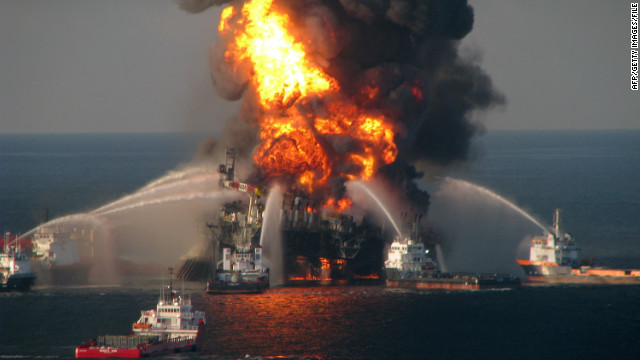 Fire boat response crews battle the blazing offshore oil rig Deepwater Horizon in the Gulf of Mexico in 2010.