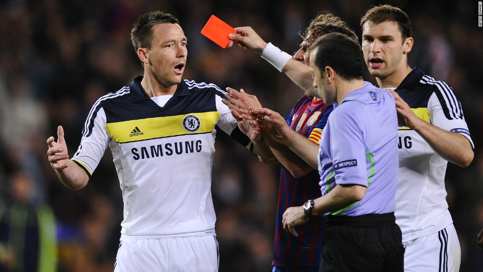 Chelsea suffer what looks like a critical blow when captain John Terry knees Alexis Sanchez from behind and is sent off in the 37th minute.