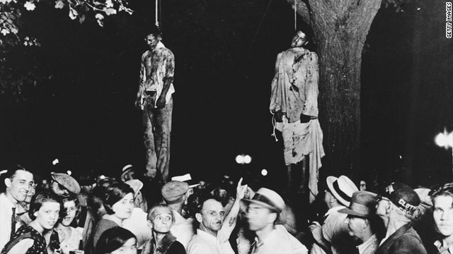 The famous and horrifying image of the killing of Thomas Shipp and Abram Smith in Marion, Indiana, in 1930.