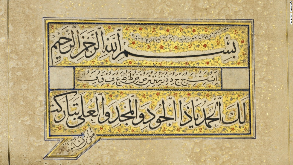 London's auction houses last week celebrated 'Islamic Week,' with a series of sales featuring opulent items from across the Islamic world. This late 13th-century Arabic manuscript, from Baghdad, was among the lots for sale at Christie's.