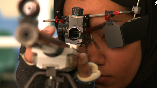 Air rifle shooter Bahiya Al-Hammad, 19, training at her club near Doha, Qatar.