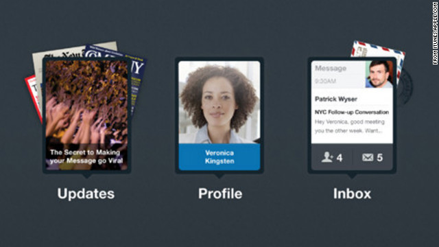 The app's main screen is a clean, simple interface with just three options: updates, profile and inbox.