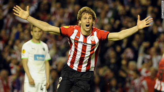 Fernando Llorente wheels away in delight after scoring the goal that sent Atheltic Bilbao into the Europa League final