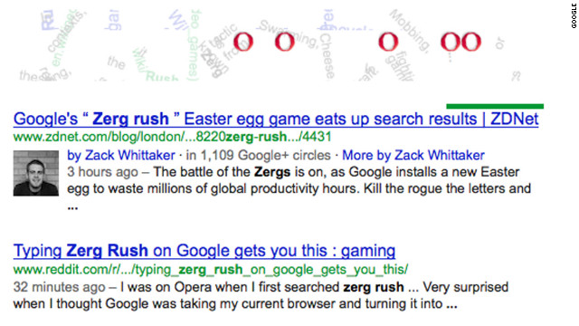 "The ""O's"" from the Google image become swarming ""zerglings"" after a search for the gaming term ""Zerg rush."""