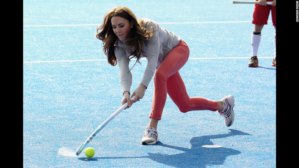 The newest addition of the British royal family, Catherine, Duchess of Cambridge, celebrates her first wedding anniversary with Prince William of Wales, Duke of Cambridge, this weekend. She's been on the move since her marriage, including playing field hockey with the British team in London on March 15.