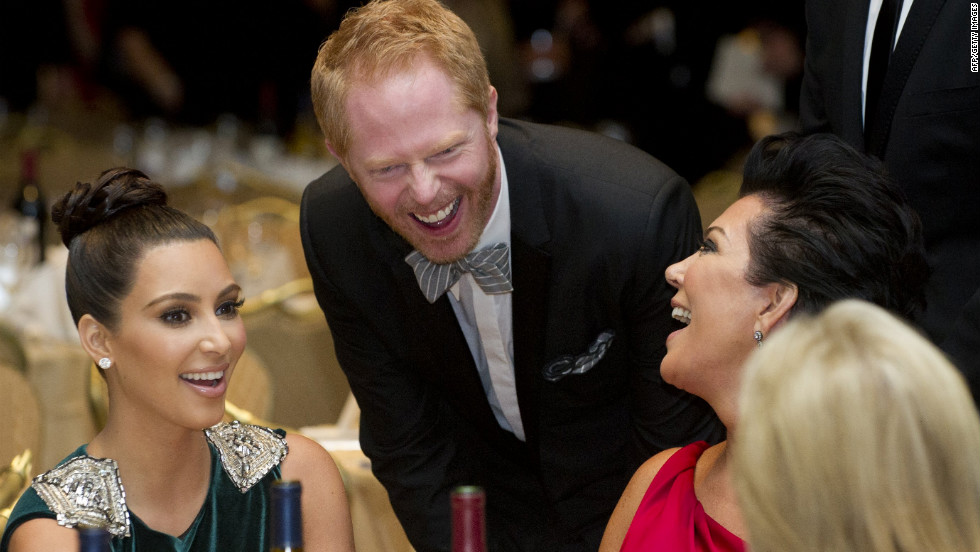 Actor Jesse Tyler Ferguson chats with Kim Kardashian and her mother, Kris Jenner.