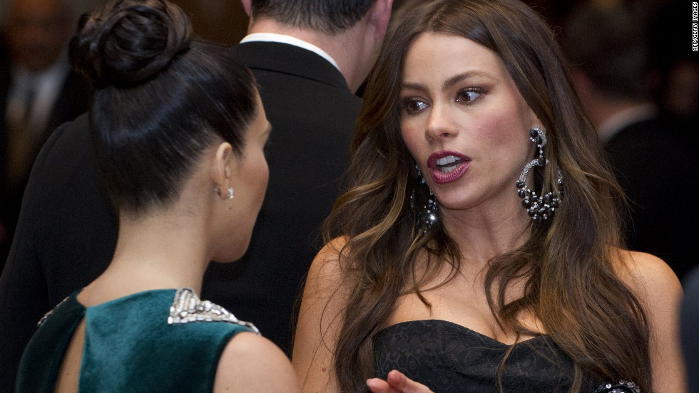 Actress Sofia Vergara, right, talks with Kim Kardashian.
