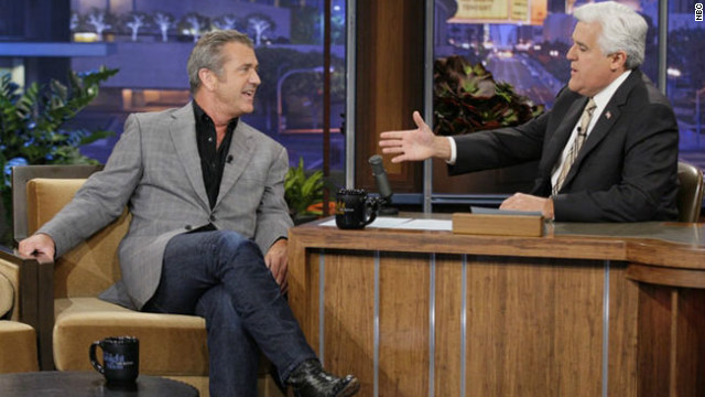 "Mel Gibson, left, tells ""Tonight Show"" host Jay Leno, ""I've got a little bit of a temper."""