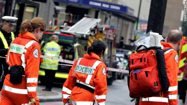 Emergency workers arriving at Edgware Road following an explosion in London's subway on July 7, 2005.
