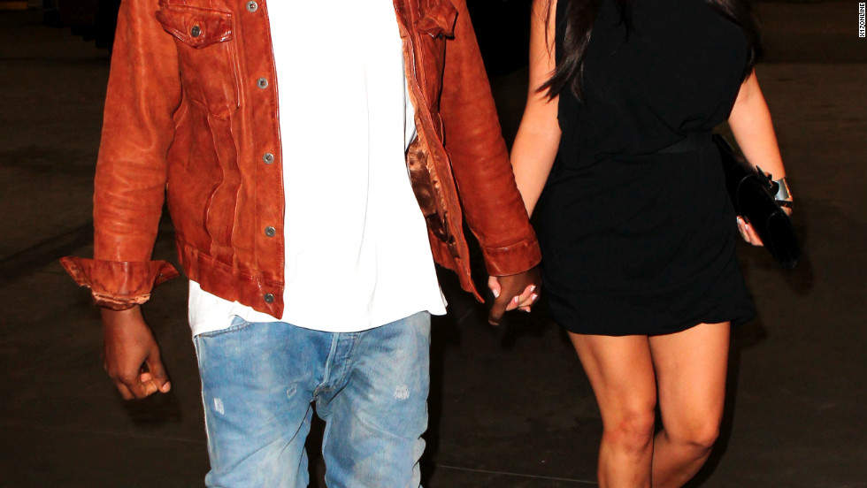 Kanye West and Kim Kardashain attend a Broadway show in New York City.