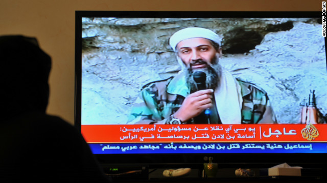The death of Osama bin Laden being reported on  Al-Jazeera on May 2, 2011.