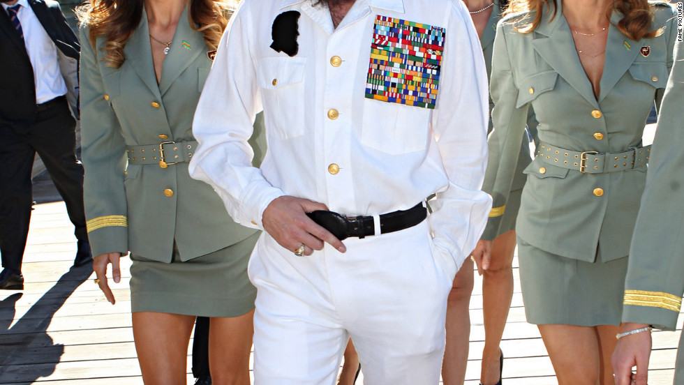 "Sacha Baron Cohen arrives in Sydney as his character from ""The Dictator."""