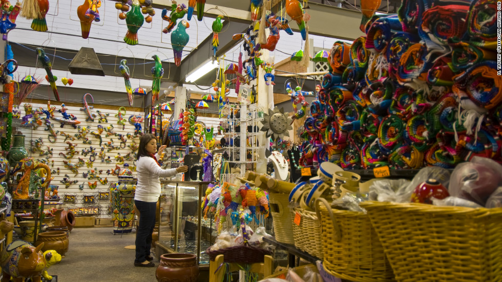 The shops of El Mercado sell Mexican goods.