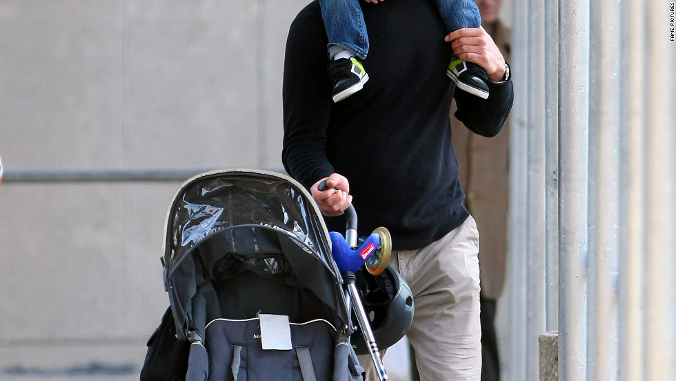 Liev Schreiber goes to the park with his children in New York City.