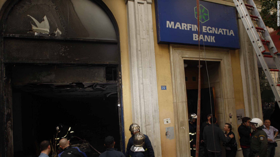Marfin Egnatia Bank, in  Athens, photographed after it was burned in the protests of May 5, 2010.