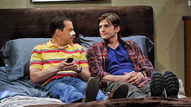 "Jon Cryer (left) and Ashton Kutcher, as shown in the upcoming 200th episode of ""Two and a Half Men"" airing on May 7."