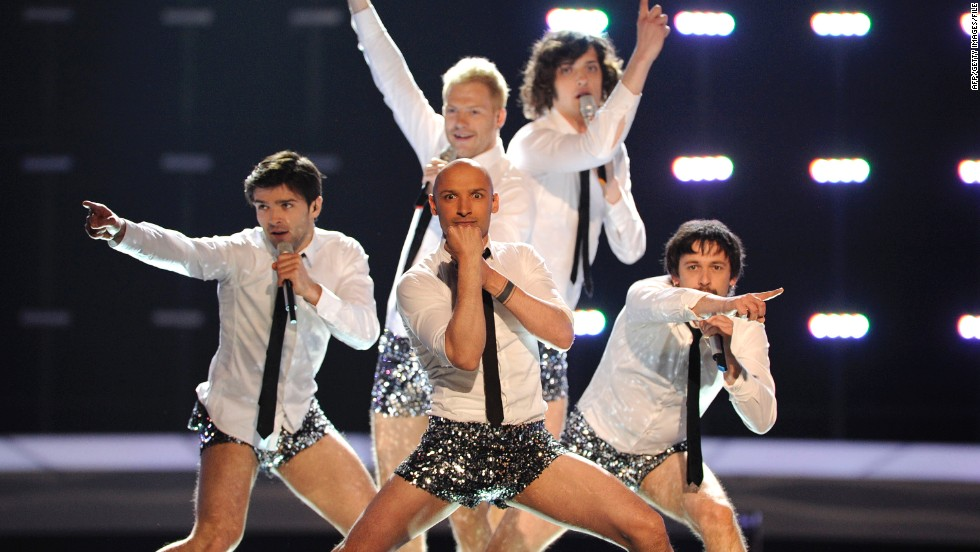 "Lithuanian group InCulto strips down to glittery hot pants for the climax of the song ""Eastern European Funk"" in 2010."