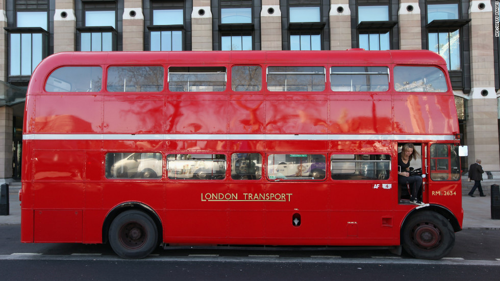 A classic Routemaster double-decker bus travels a route in Westminster in March.