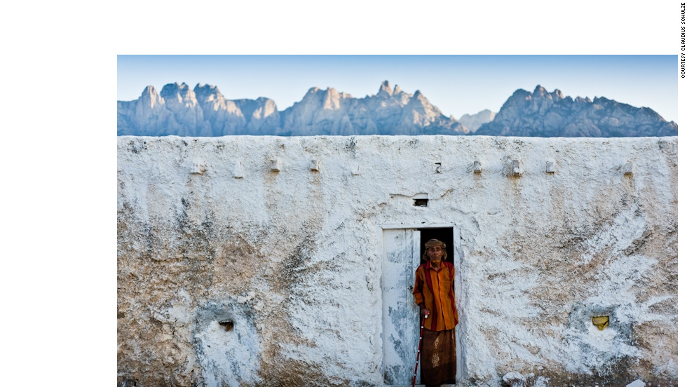 Tribal leader Sheikh al-Ghaddafi in front of his house in Socotra. The tribal Bedouin people of Socotra live mostly from goat herding, date plantations and fishing.