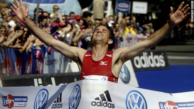 Banned Portuguese athlete Helder Ornelas crosses the line after winning the Prague Marathon in 2007.