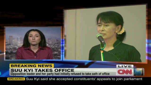 Aung San Suu Kyi takes oath of office
