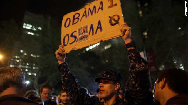 Thousands celebrate near ground zero after President Obama announced the killing of Osama bin Laden.