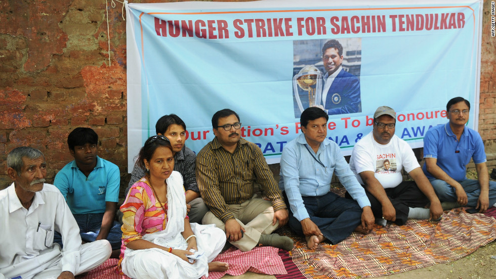 "Tendulkar's supporters held a hunger strike on April 24, demanding the government award him India's highest civilian award. Chairperson Justice Markandey Katju hit back, arguing that giving the Bharat Ratna to cricketers and film stars who have ""no social relevance"" makes a mockery of the prize."