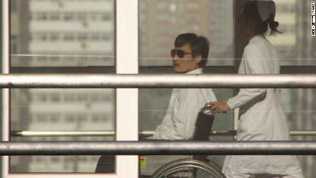 Chinese activist Chen Guangcheng appears Wednesday at a Beijing hospital, where he is receiving care for an injured foot.