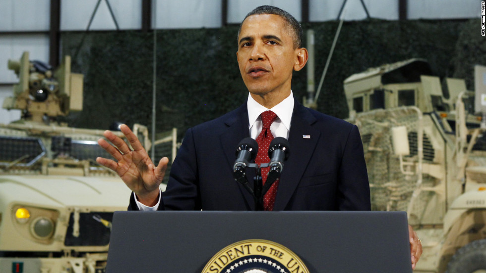 President Barack Obama delivers an address to the American people on U.S. policy and the war in Afghanistan during his visit to Bagram Air Base early Wednesday. Obama said the goal of defeating the al Qaeda network was within reach, more than a decade after the September 11 attacks.