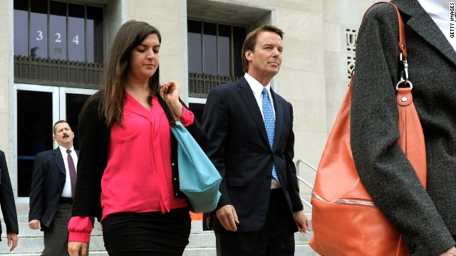 Former U.S. Sen. John Edwards leaves the federal courthouse in Greensboro, North Carolina, with his daughter Cate Edwards on April 23.