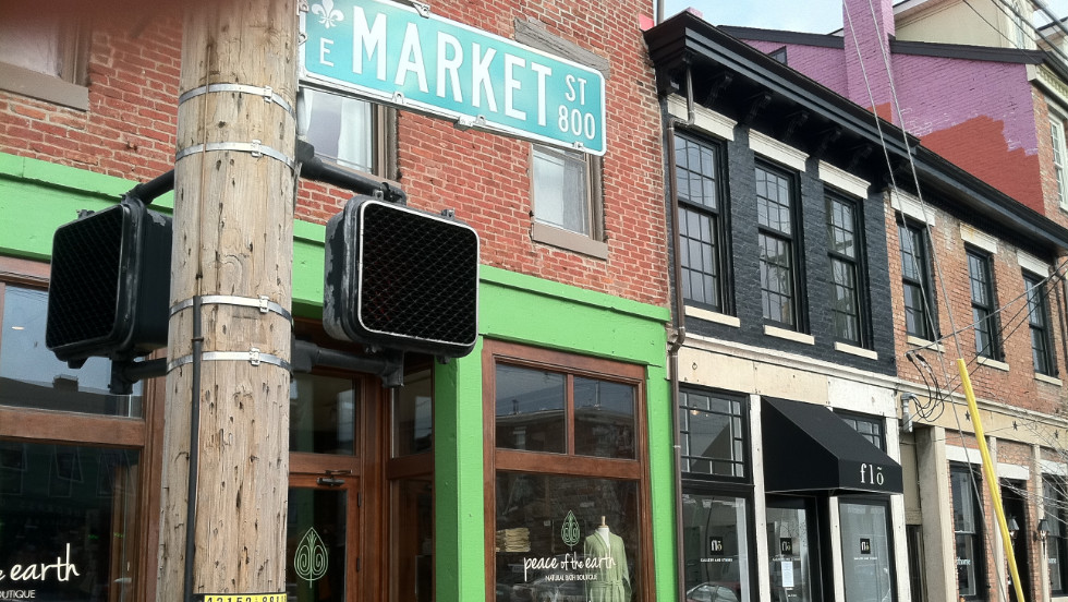NuLu, a revitalized neighborhood along East Market Street, is home to fashionable shops and restaurants.