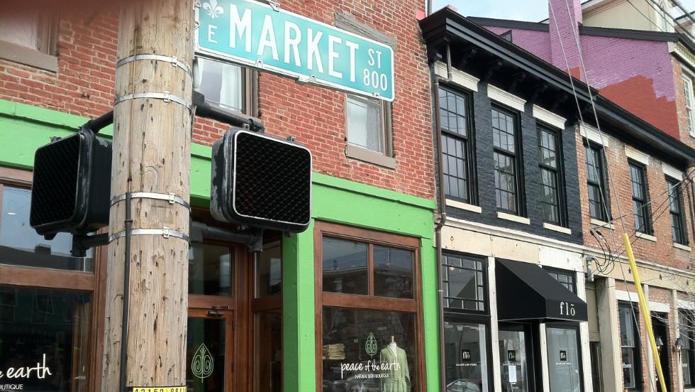 NuLu, a revitalized neighborhood along East Market Street, is home to fashionable shops and restaurants.