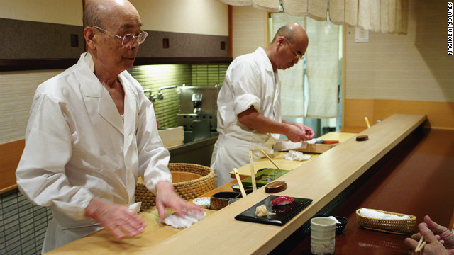 Chef Jiro Ono and son Yoshikazu Ono. Jiro, 86, is the first sushi chef in the world to receive three Michelin stars.