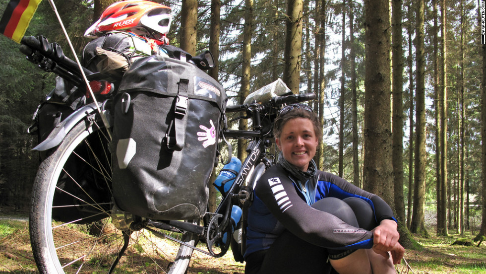 She has travelled 11,000 miles so far, traversing Europe and Asia by bike and canoe.