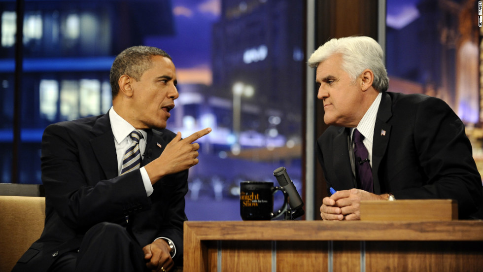 "Obama appears on ""The Tonight Show With Jay Leno"" on October 25, 2011. During a wide-ranging interview, the president criticized Washington's harsh political climate."