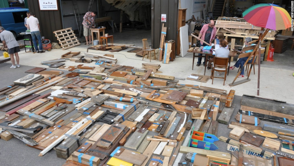 The hundreds of donated objects filled a carpark.